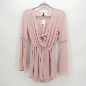 H&M Blush Pink Romper with Knot and Bell Sleeves